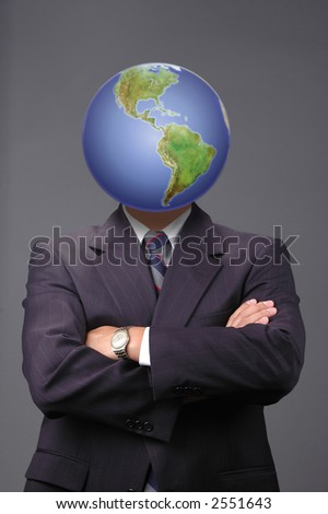 Global business metapore with neutral background