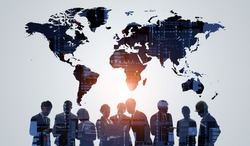 Global business network concept. Group of businessperson. Teamwork. Human resources.