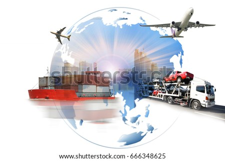 Global business of  import export, Business logistics concept , The trailer transports cars on highway with big city background , maritime shipping , On-time delivery  #666348625