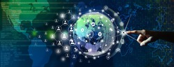 Global business, People and Network connection concept.  Businessman leading the global connection with connecting people orbit around the world. Code program, Digital binary and World map background.