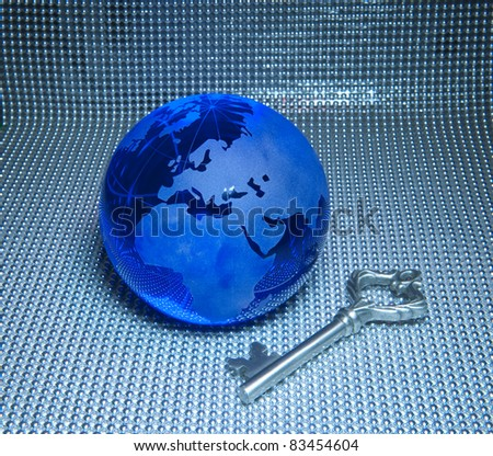 Global business success themes.earth with key
