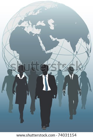 Global business team emerging from globe as symbol of human resources workforce