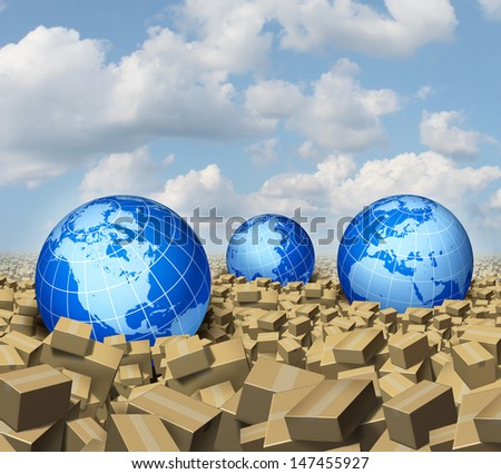 Global cargo and Shipping business concept as a worldwide trade and delivery transport courier service with a group of spheres as world  markets drowning in a sea and ocean of cardboard boxes.