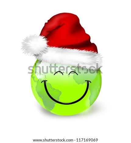 Global Christmas planet concept - smile green world in santa hat