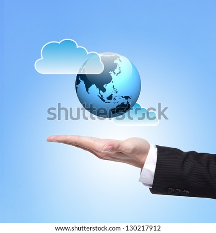 Global cloud computing concept , above hand