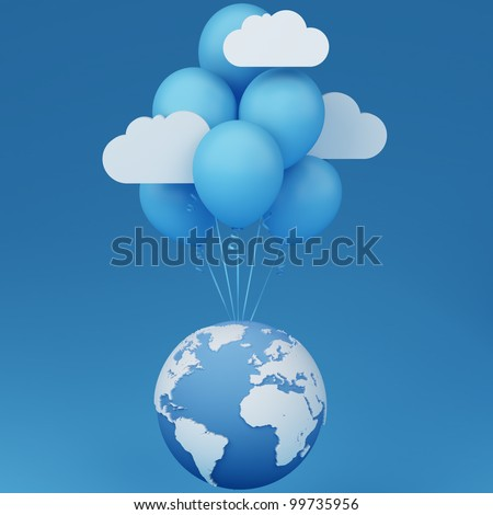 Global cloud concept  Note: All Devices design and all screen interface graphics in this series are designed by the contributor him self. Maps courtesy: NASA and CIA World Databank II