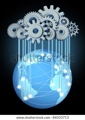 Global cloud networking computing network symbol with a cloud made of gears and cogs for global computing technology on a blue world with international internet partners.