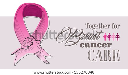 Global collaboration breast cancer awareness concept illustration. Human hands shake creating ribbon symbol