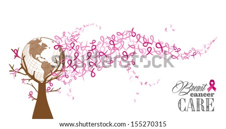 Global collaboration breast cancer awareness concept tree with flying ribbons illustration. - stock photo