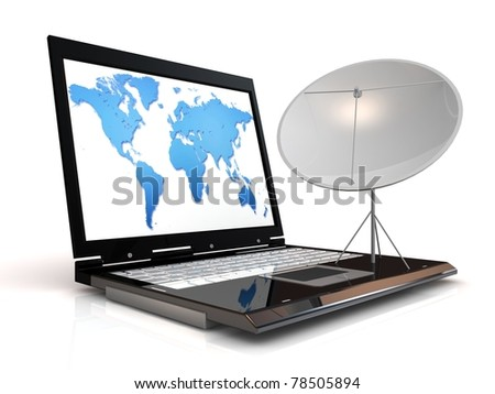 Global communication concept. Laptop and satellite.