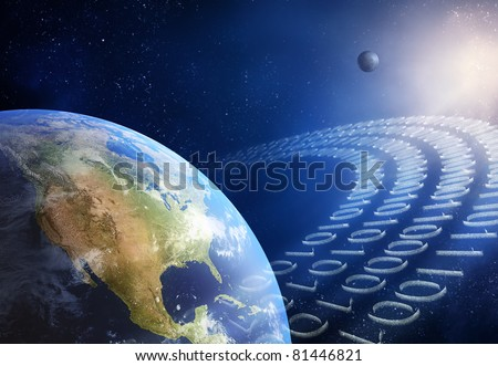 Global communication / data transmission - binary code made from tiny particles ( 3D uv maps from http://visibleearth.nasa.gov )