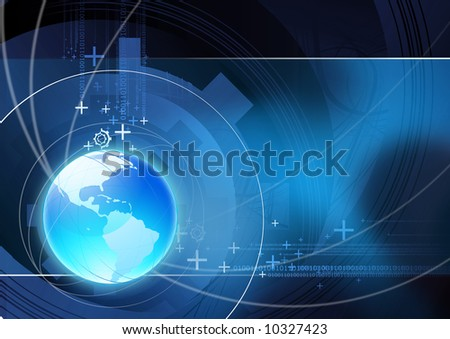 Global communication illustration with technical elements.