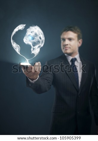 global communication in phone businessman