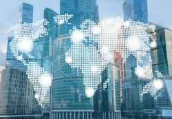 global communication, international business company concept, double exposure with skyscrapers, people, world map