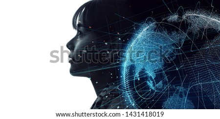 Global communication network concept. Artificial Intelligence.