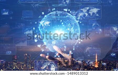 Global communication network concept. Digital transforamtion. GUI (Graphical User Interface). #1489013312