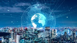 Global communication network concept. Smart city.