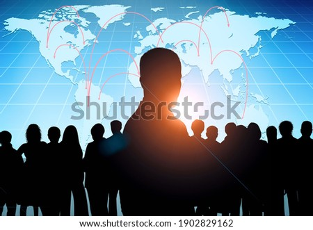Global communication network concept. Worldwide business. Silhouette of people on background Foto stock ©