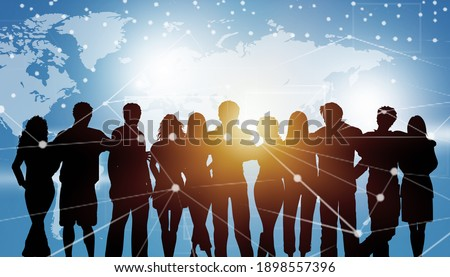Global communication network concept. Worldwide business. Silhouette of people on blue background Foto stock ©