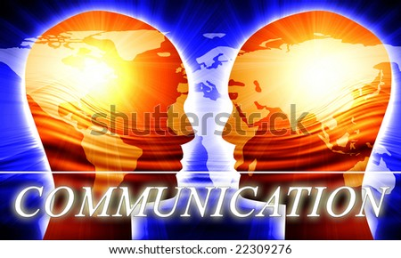 Global communication on a dark blue background