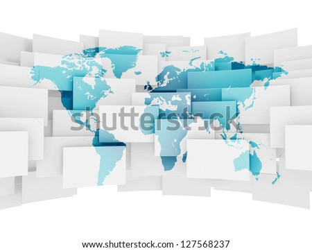 Global communication world map on 3d squares
