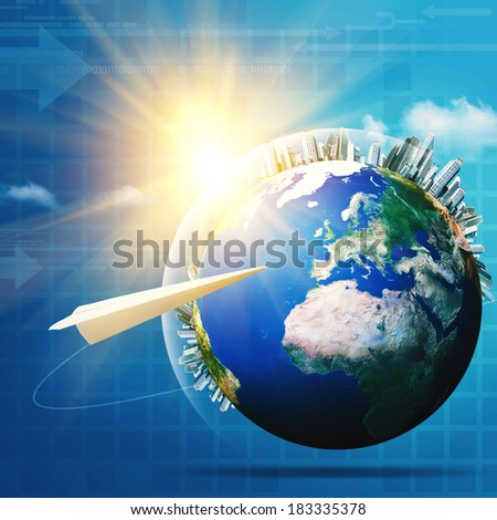 Global communications. Abstract technology and transportation backgrounds
