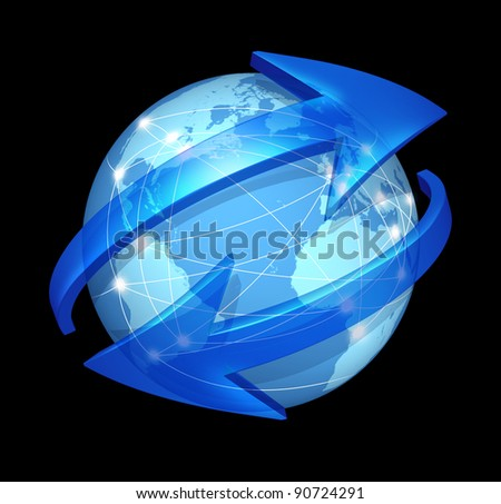 Global communications symbol  on black as connections concept on blue international world globe with two curved arrows as a social exchange and trade icon for digital media content distribution.
