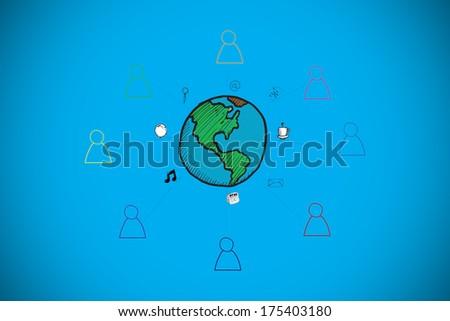 Global community doodle against blue background with vignette