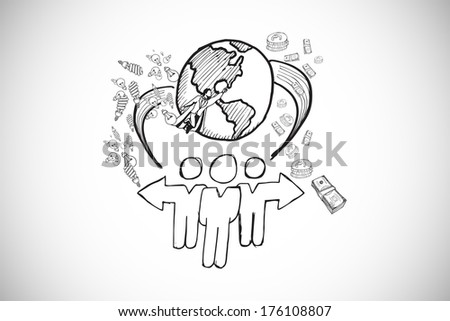 Global community doodle against white background with vignette