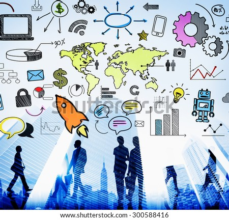 Global Community Start Up Launch Teamwork Online Concept