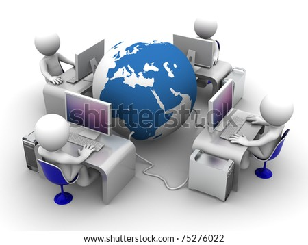 Global computer network. Conceptual image on white background