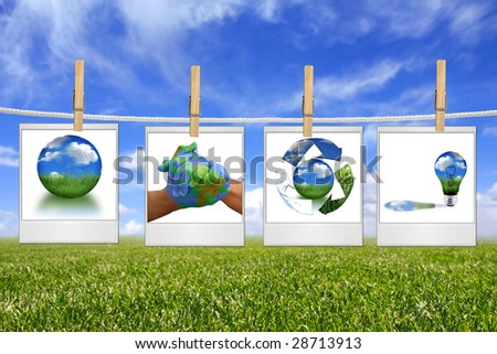 Global Concept of Green Energy Solutions Hanging on a Rope Inside Film Blanks