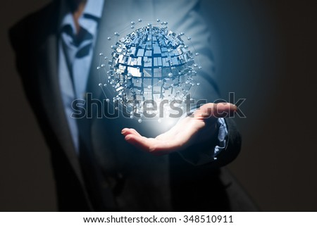 Global connection concept with digital planet in hands #348510911