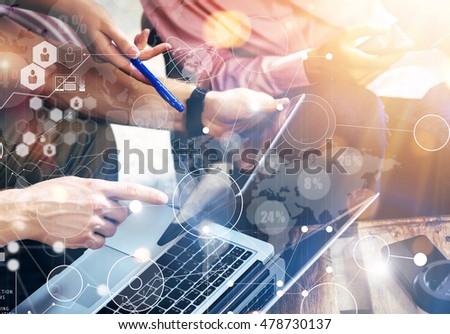 Global Connection Virtual Icon Diagram Interface Marketing Searching.Young Coworkers Team Analyze Meeting Report Electronic Gadget.Businessman Startup Online Markets Project.Closeup Blurred Background #478730137