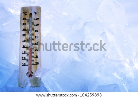 global cooling background concept with ice - stock photo