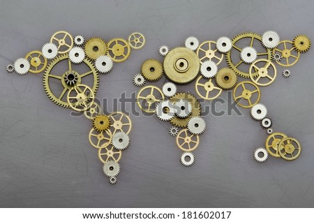 Global cooperation. World map formed by gears