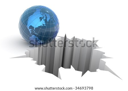 Global crash concept. Hi-res digitally generated image. - stock photo
