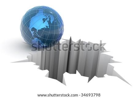 Global crash concept. Hi-res digitally generated image.