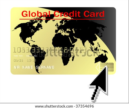 Global credit card with computer cursor - stock photo