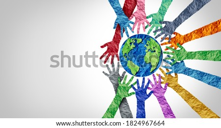 Global culture and world diversity or earth day as a concept of diverse people and crowd cooperation symbol as hands holding together the planet earth in a 3D illustration style.