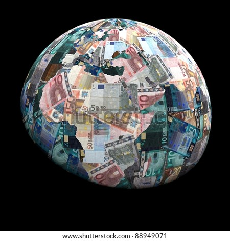 Global currency euros with negative effect illustration