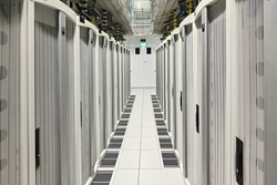 Global data center walkway between rack cabinets modern industrial IT world communications and internet