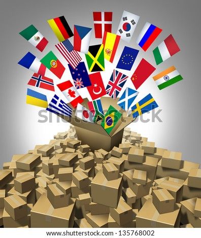 Global delivery Shipping and international package sending as a world parcel concept made of a mountain of cardboard boxes as a volcano with a group of flags as a symbol of fast service.