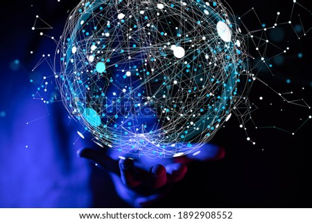 Global digital connections with technology.