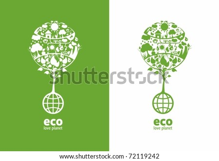 Global ecology tree with place for text(example eco, love planet), on two backgrounds