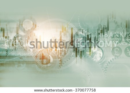 Global Economy Abstract Background. World Economy Mechanism Conceptual Background Illustration with Trading Stats, Compass Rose and Some Mechanisms.