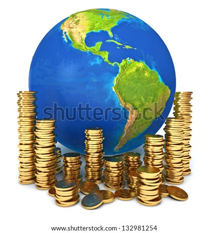 Global economy. Conceptual illustration. Isolated on white background. 3d render