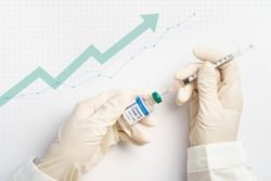 Global economy recovery after Covid 19 concept. Hands of a researcher in medical gloves takes shot from Coronavirus Vaccine vial by needle syringe with stock index chart rising up in the background.