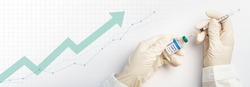 Global economy recovery after Covid 19 vaccine. Hands of a researcher in protection gloves takes shot from medical vial by needle syringe with stock index chart rising up in the background. Banner.