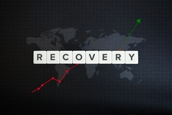 Global economy recovery concept. Financial, industrial, business and market sector comeback and upturn. Block letters, stock chart and world map on black background.